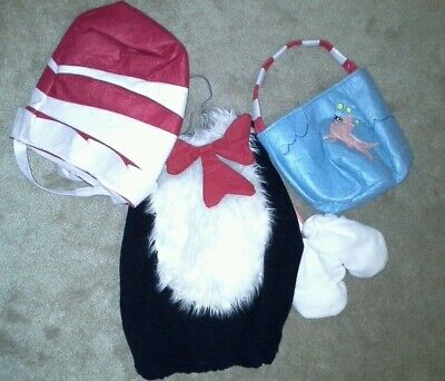 NWT POTTERY BARN DR SUESS CAT IN THE HAT COSTUME & FISH BOWL TREAT BAG 4/5/6