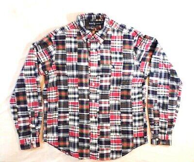 Ralph Lauren Medium Men's Shirt Patchwork Madras Plaid Cotton - Patchwork Madras