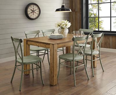 Farmhouse Dining Table Set Rustic Wood Country Kitchen Metal Green Chair 7 Piece ()