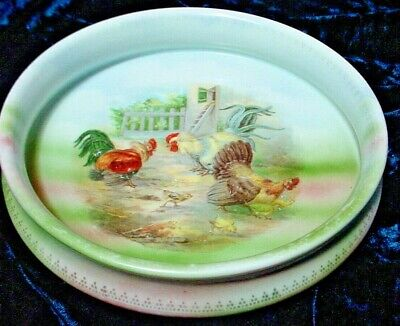 Adorable Antique Child's Feeding Dish With Chickens-Good Condition