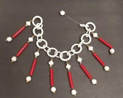 Vintage Elegant Funky Fashion Celluloid Chain Necklace Bakelite? Deco - 60s Mod