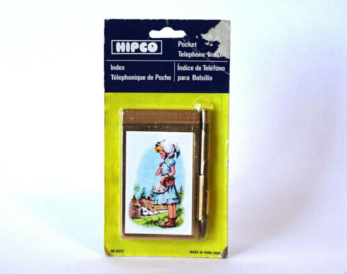 Vintage Hipco Pocket Telephone Index Goldtone Metal New & Factory Sealed c1980s