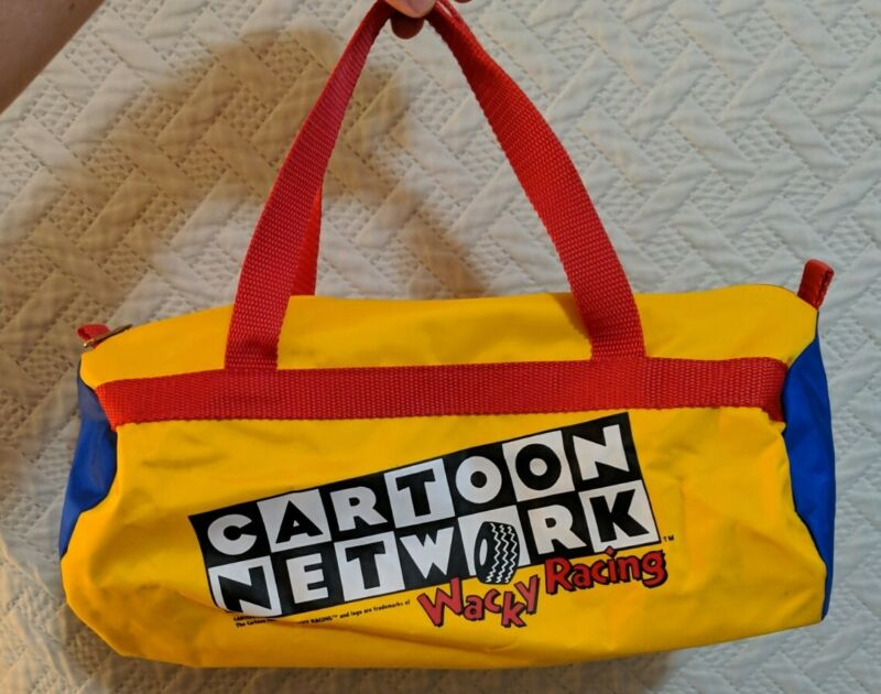 Cartoon Network Wacky Racing Mini Duffle Bag Yellow Blue Red Vintage 1990