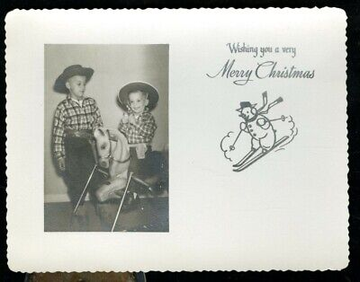Vintage MERRY CHRISTMAS PHOTO GREETING CARD LITTLE BOYS COWBOY OUTFITS & HORSEY ()
