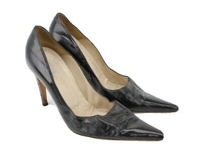 Gianni Versace Women's Eel Skin High Heels Sz 37 Black Leather Pointy Toe Shoes