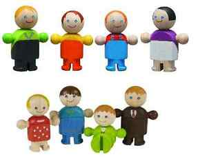 Plan Toys/City Casual & Formal Families 8x Wooden dolls/figures 5cm