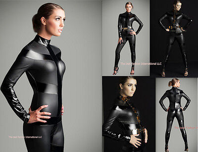 Grey Punk Metallic Catsuit Body suit Halloween Costume polyester S-2XL