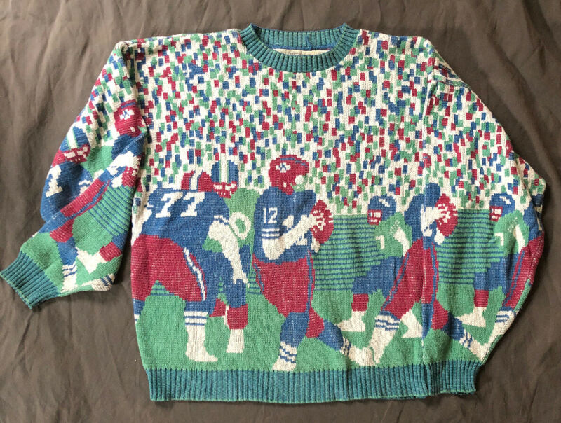 VTG FOOTBALL THEME Knitted Waterfront Workshop Coogie Cosby Style Sweater L
