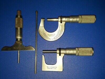Vintage Starrett 440 Micrometer Depth 0-2 220 230 0-1 Set Lot Machinist Tool