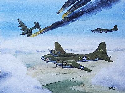 """ORIGINAL GOUACHE - Boeing B-17, Flying Fortress """"Memphis Belle"""". gebraucht kaufen  Düsseldorf"""
