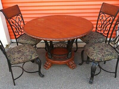 ASHLEY FURNITURE 5 PC WROUGHT IRON & WOOD dining room table & chairs set GREAT !