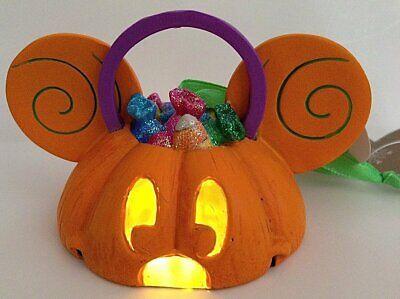 Mouse Light Up Pumpkin Ear Hat Ornament Halloween Fall  (Halloween Falls Park)