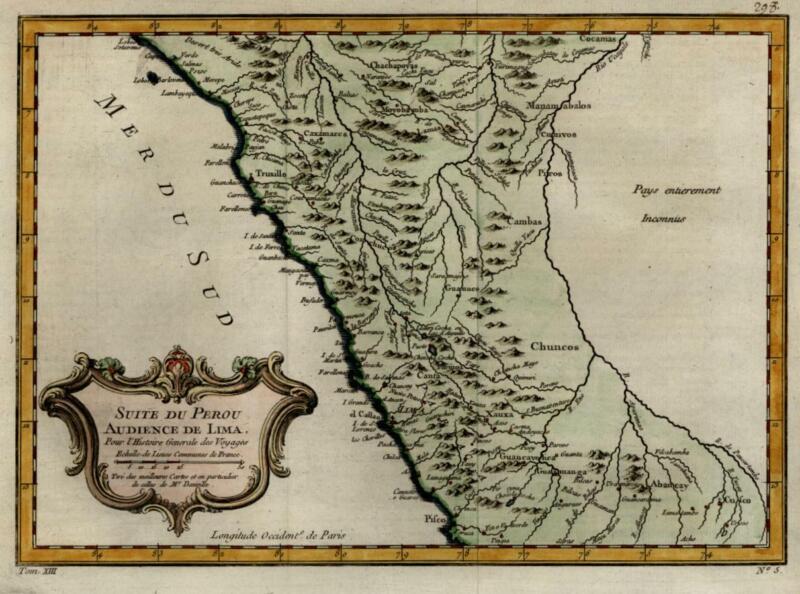 Peru coast New Spain Lima Cusco Spanish Colonialism 1756 Bellin decorative map