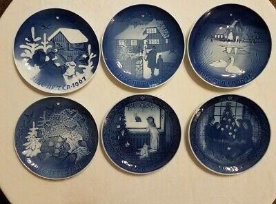 6 vintage ROYAL COPENHAGEN CHRISTMAS PLATES 60'S 70'S 80'S BLUE /WHITE Denmark