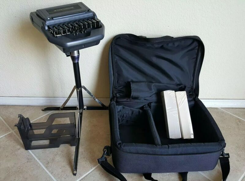 Stenograph Stentura 200 with Stand, Paper Tray, Padded Case For Court reporter
