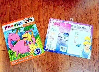 Lot: Workbook Phonics Kindergarten-1 & Disney Princess Wipe-Clean Activity - Kindergarten Phonics Activities