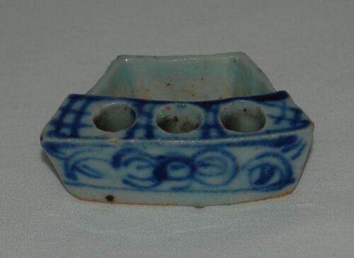 Antique Chinese Blue & White Porcelain Scholar Brush Holder Inkwell Qing Dynasty