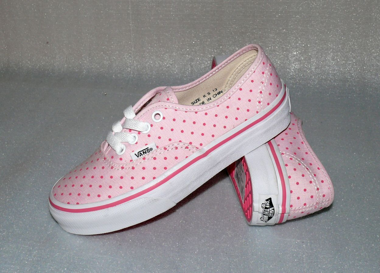Vans Authentic K'S Canvas Kinder Schuhe Sneaker 31 UK 13 Chambray Dots Hot Pink