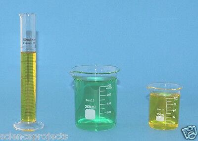 Beaker Set 250ml 100ml Cylinder 50ml Borosilicate Glass Griffin Lab New Beakers