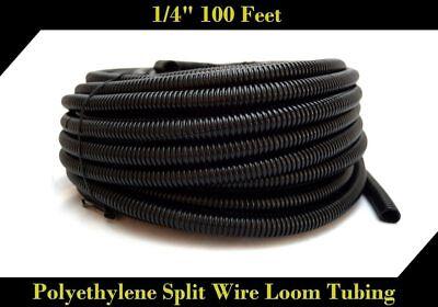 "Wire Loom Black 100' Feet 1/4"" Split Tubing Hose Cover Auto Home Marine"