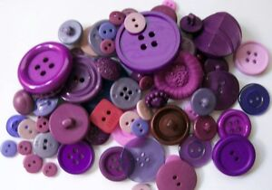 LOT OF 50 ASSORTED PURPLE COLOR BUTTONS  *NEW *