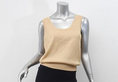 ST. JOHN Womens Gold Metallic Knit Sleeveless Scoopneck Tank Top Shirt Blouse S
