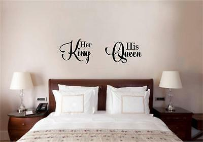 Her King His Queen Love Vinyl Decal Wall Decor Sticker Words Lettering Quote Art