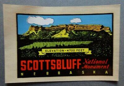Vintage SCOTTSBLUFF, NEBRASKA, Luggage Travel Label Sticker Decal, Unused