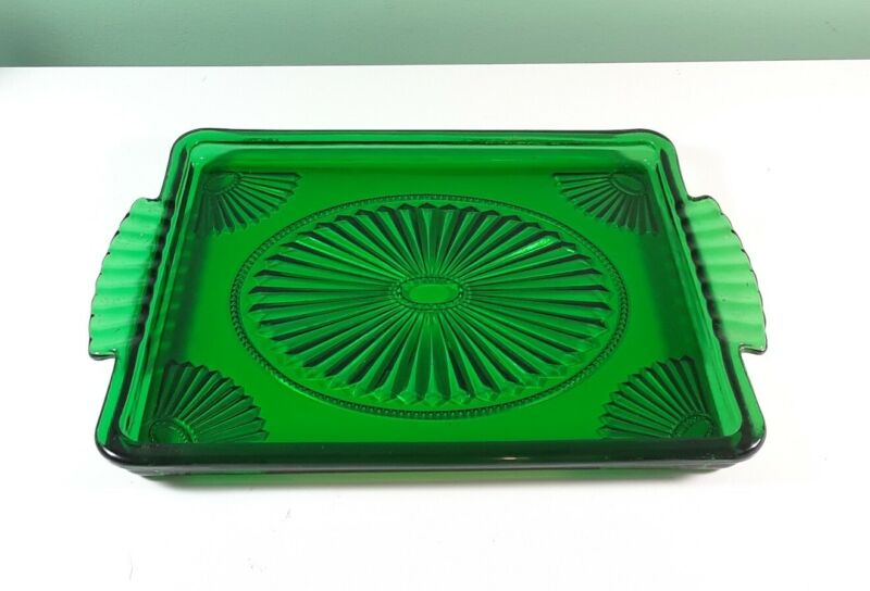 "Vintage Avon Emerald Green Glass 7 3/4"" X 11 1/2"" Rectangular Vanity Tray ."