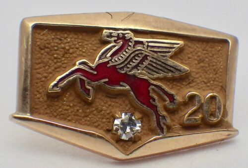 Vintage 10K Mobil Oil Red Enamel Pegasus 20 Year Service Pin w/Diamond