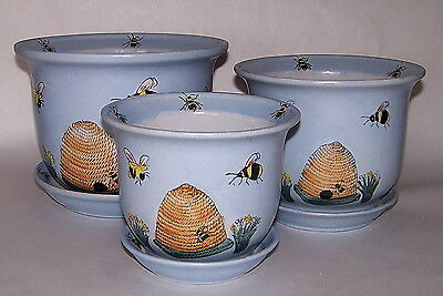 7 3 4  Set Of 3 Ceramic Indoor Planters Small Flower Pots Handpainted Bee Hive