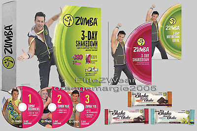 Zumba 3Day Shakedown DVD's (6 workouts) + 3DayShakes + Weightloss Guide Beginner