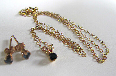 Infant Child 14K Yellow Gold Sapphire Stud Earrings & Necklace Pendant
