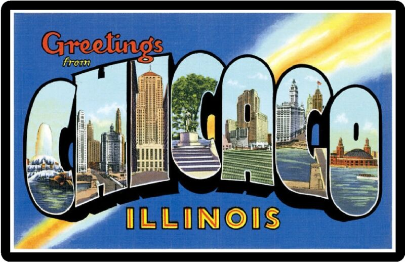 Greetings From Chicago Illinois Souvenirs Travel Refrigerator Magnet