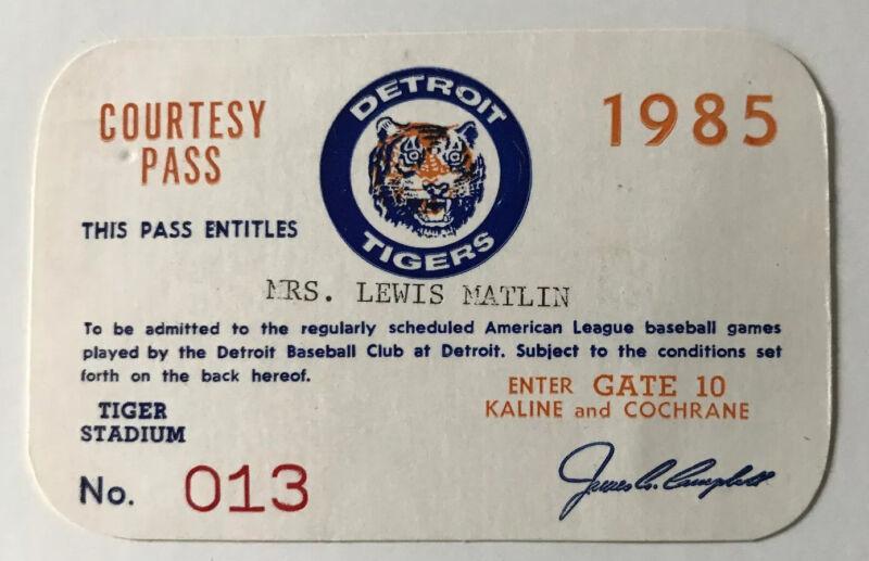 1985 Darrell Evans HR 40 LL/ Jack Morris Win Ticket Pass Detroit Tigers V Tor Mt
