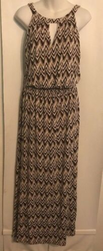 Soma Halter Dress Brown Multicolor Rayon Blend Stretchy Long Maxi Size Large