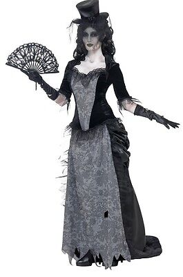 Ladies Wild West Widow Ghost Town Saloon Girl Halloween Fancy Dress Costume 8-18 ()