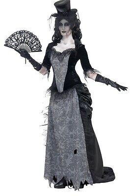 Damen Wild West Witwe Geist Stadt Mädchen Saloon Halloween Kostüm 8-18