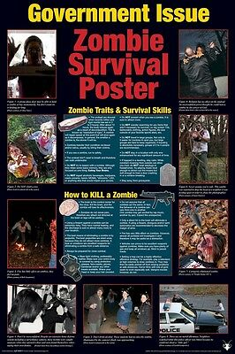 rnment Issue Survival Guide 24x36 Zombies Walking Dead (Zombie-plakat)