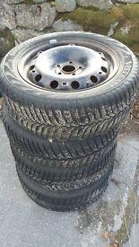 Snow tyres for Skoda Fabia on steel wheels.