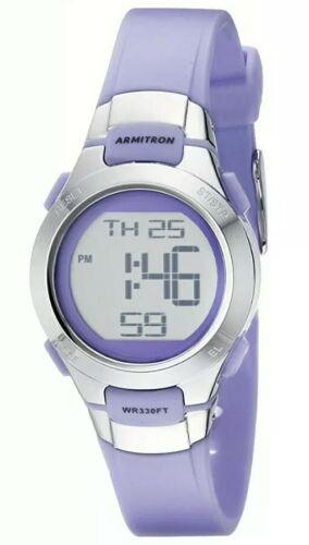 Women Armitron Pro Sport Watch 45/7012 Silver Purple Resin B