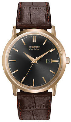 Citizen Eco Drive Men's Black Dial Rose Gold Tone Case 40mm Watch BM7193-07E