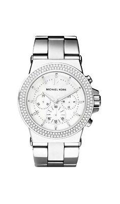 AUTHENTIC Michael Kors MK5385 Dylan Glitz Silver Tone Chrono 42MM Women's Watch