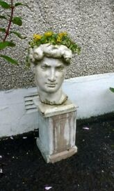 Michaelangelo's David plant pot statues x2