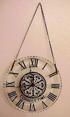 "RARE! ANTIQUE ANSONIA ""CORRECT TIME"" STORE WINDOW DISPLAY HANGING GLASS CLOCK"