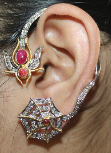 2.10ct ROSE CUT DIAMOND RUBY ANTIQUE VICTORIAN LOOK 925 SILVER VALENTIN EARRING