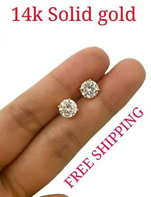 Gold Brilliant Cut Diamond - 1Ct Created Diamond 14K Yellow Gold Brilliant Cut Screw Back Stud Earrings 5mm
