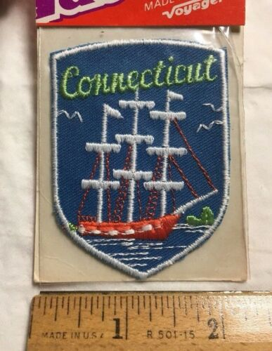 NIP Vintage Connecticut Three Mast Sailing Ship Boat Souvenir Patch Badge