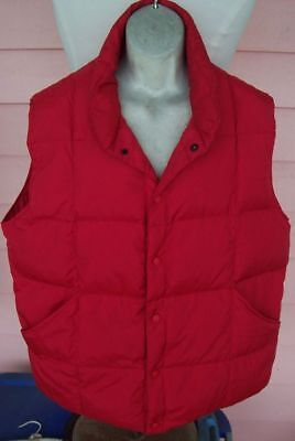 LANDS' END Down Vest Mens L 42-44 HIGH VISIBILITY RED Snap Front Big Pockets - Big Mens Down Vest