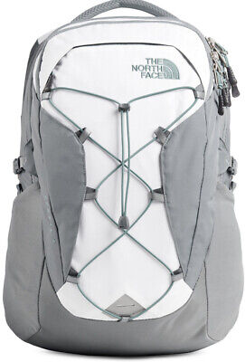 NWT Women's The North Face Borealis Laptop Backpack White/Grey/Green  FREE SHIP!